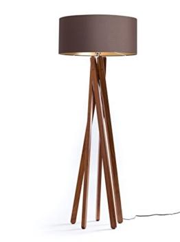 Hochwertige Design Stehlampe Tripod mit Textil Schirm in Braun Gold und Stativ/Gestell aus dunklem Holz Echtholz Nussbaum | H= 160cm | Stehleuchte | Handgefertigte Leuchte - 1