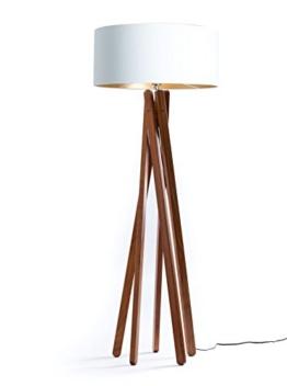 Hochwertige Design Stehlampe Tripod mit Textil Schirm in Weiß Gold und Stativ/Gestell aus dunklem Holz Echtholz Nussbaum | H= 160cm | Stehleuchte | Handgefertigte Leuchte - 1