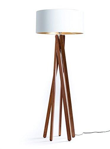 hochwertige design stehlampe tripod mit textil schirm in wei gold und stativ gestell aus. Black Bedroom Furniture Sets. Home Design Ideas