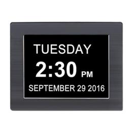 """iProtect Digitale Wanduhr 8"""" Display mit extra großer Schrift, Datumsanzeige, Medikamentenerinnerung, Wecker und Stundensignal in Schwarz - 1"""