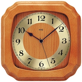 klassische AMS Holz Wanduhr 5866/9 Funkuhr mit Holzrahmen Rustikal Landhaus Stil lackiert Mineralglas - 1