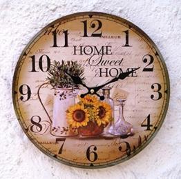 Lilienburg Wanduhr Vintage Küchenuhr Uhr grün braun gelb HOME - 1