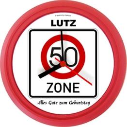 Lucky Clocks BEGINN DER ZONE originelle Wanduhr Verkehrszeichen zum Geburtstag für jeden Anlass mit jeder Beschriftung und jedem Vornamen Namen erhältlich auch ganz neutral - 1