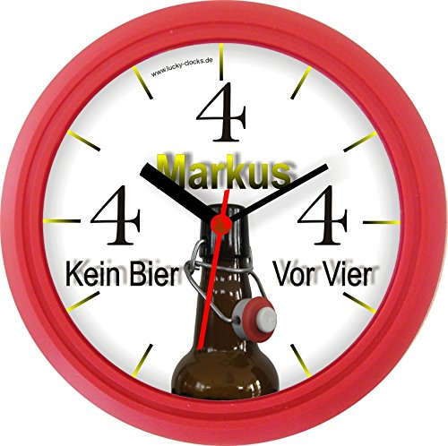 lucky clocks bieruhr kein bier vor vier 4 flasche lustige. Black Bedroom Furniture Sets. Home Design Ideas