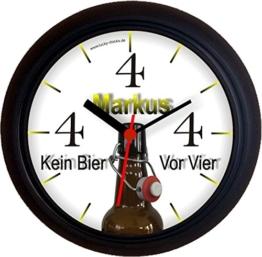 Lucky Clocks Bieruhr KEIN BIER VOR VIER 4 FLASCHE lustige originelle Wanduhr für Bierfans für jeden Anlass mit jeder Beschriftung und jedem Vornamen Namen erhältlich auch ganz neutral - 1