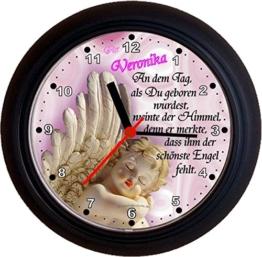 Lucky Clocks ENGEL ROSA schöne Wanduhr mit Engel für jeden Anlass mit jeder Beschriftung und jedem Vornamen Namen erhältlich auch ganz neutral - 1