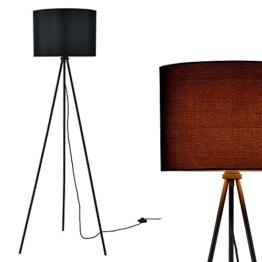 [lux.pro] Stehleuchte (1 x E27 Sockel)(150cm x 60cm) Stoffschirm (schwarz) Schirm und Dreifuß Stehlampe - 1