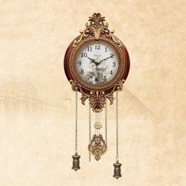 MEILING Europäische Klassische Wohnzimmer Wanduhr Stille Wohnzimmer Metall Holz Original Bewegung Uhr mit Pendel - 1