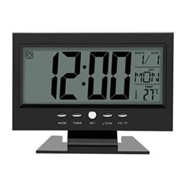 Multifunktions Klangsteuerung Große LCD Digitaluhr Tisch Schreibtisch Wecker mit Zeit Kalender Woche Temperaturanzeige Snooze Uhren(Schwarz) - 1