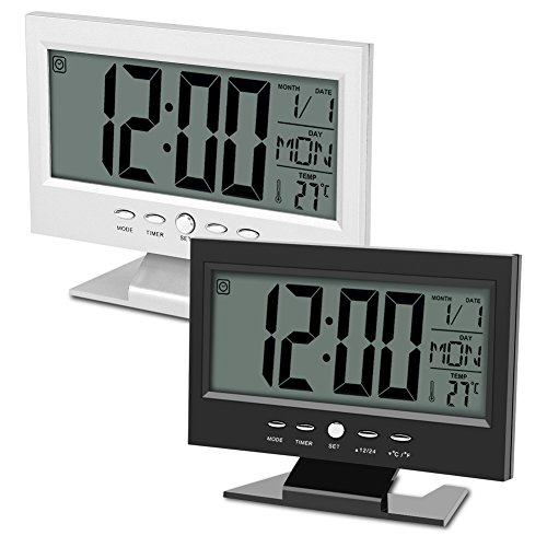 multifunktions klangsteuerung gro e lcd digitaluhr tisch schreibtisch wecker mit zeit kalender. Black Bedroom Furniture Sets. Home Design Ideas