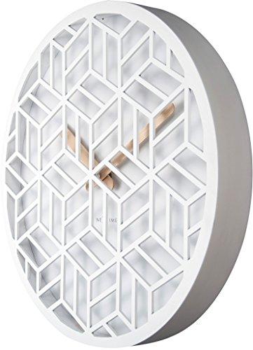 nextime 3215 wi discrete wanduhr holz wei 36 x 36 x 4 6 cm 3 redidoplanet. Black Bedroom Furniture Sets. Home Design Ideas