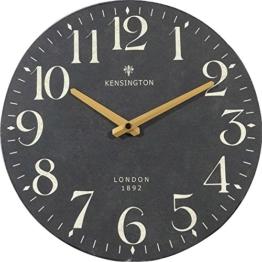 NIKKY HOME runde Wanduhr stille Quarz Analog-römischen Wahl Europäische Retro-Stil Vintage handgemachte dekorative Holz 30cm weiß und schwarz - 1