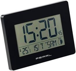 PEARL Digitale Funkwanduhr: Funk-Wanduhr mit Jumbo-Uhrzeit, Temperatur- & Datums-Anzeige, schwarz (Wanduhren Digital) - 1