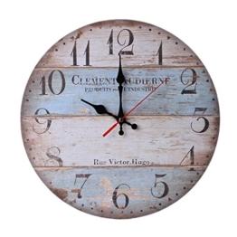 samLIKE wanduhr,Vintage Style Nicht-tickende Stille Antike Holz Wanduhr für Home Kitchen Office (C) - 1