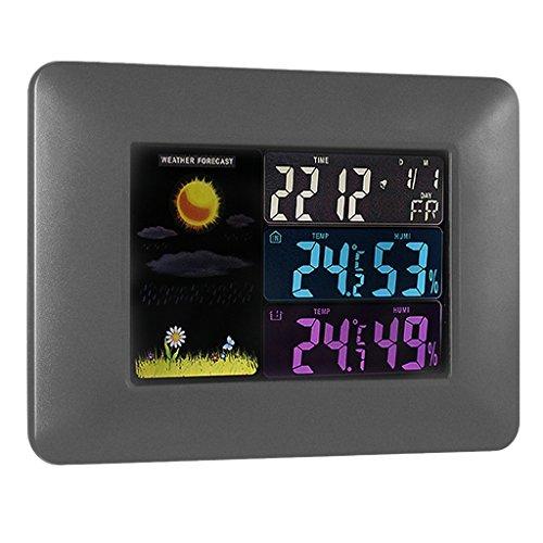 sharplace digitale farb lcd drahtlose wettervorhersage uhr thermometer hygrometer eu plug 1. Black Bedroom Furniture Sets. Home Design Ideas