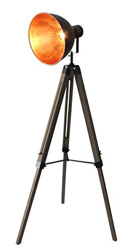 STATIV STEHLEUCHTE STUDIOLAMPE STEHLAMPE SPOT Schwarz/Gold Lampe Höhe:95-143cm 605455 Retrolampe Tripod - 1
