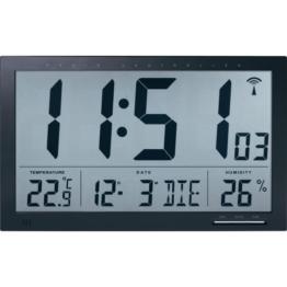 TECHNIKUS digitale Funk-Wanduhr Jumbo mit Raumklima-Anzeige (Temperatur + Luftfeuchtigkeit) - 1