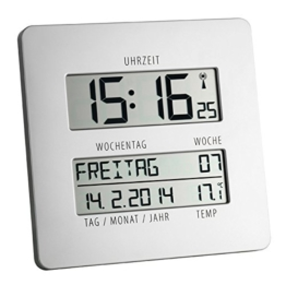 TFA Time Line Funkuhr mit Temperatur 60.4509.54 silber - 1