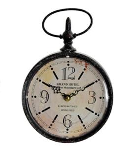Uhr Wanduhr Küchenuhr klassisches Design Metall und Glas rund IT HOTEL (Antik) - 1