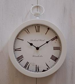 Uhr Wanduhr Küchenuhr klassisches Design Metall und Glas rund Nostalgie (Weiß) - 1