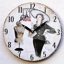 Uhr Wanduhr Küchenuhr weiß schwarz Wandbild Paris Nostalgie antik Shabby Deko - 1