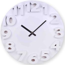 Wanduhr 3D in weiß 35 cm Quarz Designer Küchenuhr Uhr mit 3D-Zahlen - 1