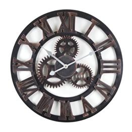 Wanduhr - 3D Wheel - Holz Küchenuhr mit großem Ziffernblatt aus MDF, Retro Uhr im angesagtem Retro Design mit leisem Quarz-Uhrwerk, Ø: 45 cm - 1