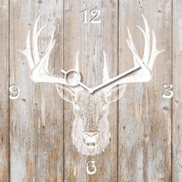 Wanduhr aus Glas, Deer Head on Wood, Hirschkopf auf Holz, hellbraun, 30x30 cm von Eurographics - 1