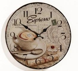 Wanduhr aus Glas INKLUSIV Batterie - Motiv: Espresso Kaffee Cafe Coffee Cappuccino - Küchenuhr Glasuhr - Uhr Größe 34cm rund - 1