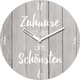 Wanduhr aus Glas mit Tischaufsteller, Spruch: Zuhause ist es am Schönsten, Holzoptik grau, 20x20 cm von Eurographics - 1