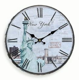 Wanduhr aus Holz 29cm - Motiv: Amerika USA New York Freiheitsstatue - Küchenuhr Uhr römische Ziffern Quartzuhr - 1