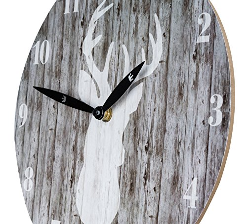 wanduhr aus holz mit hirsch motiv in grau 28cm rund j ger skandinavien natur uhr holzuhr. Black Bedroom Furniture Sets. Home Design Ideas