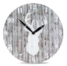 Wanduhr aus Holz mit Hirsch-Motiv in Grau - 28cm rund - Jäger Skandinavien Natur Uhr Holzuhr Zeitanzeige - 1