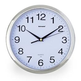 Wanduhr, Binwo Geräuschlose Wanduhr, Modernes Design Küchenuhr Wanduhren Ohne Ticken 12 Zoll (Silber) - 1