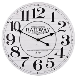 Wanduhr Caledonian Railway Antik Design Vintage Holz 60x60cm weiss - 1