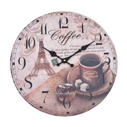Wanduhr - Coffee - Holz Küchenuhr mit großem Ziffernblatt aus MDF, Retro Uhr im angesagtem Shabby Chic Design mit leisem Quarz-Uhrwerk, Ø: 32 cm - 1