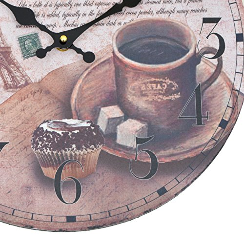 wanduhr coffee holz k chenuhr mit gro em ziffernblatt. Black Bedroom Furniture Sets. Home Design Ideas