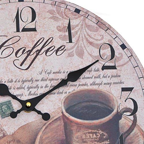 wanduhr coffee holz k chenuhr mit gro em ziffernblatt aus mdf retro uhr im angesagtem. Black Bedroom Furniture Sets. Home Design Ideas
