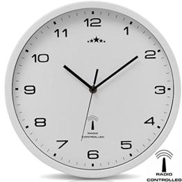 Wanduhr Funkuhr Quarz Funkwanduhr Analog Uhr 31cm Zeitumstellung Automatisch - weiß - 1