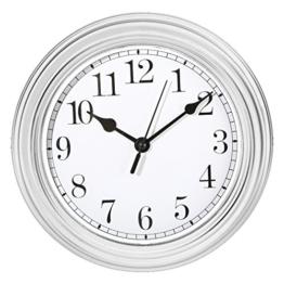Wanduhr Küchenuhr Uhr Nostalgie Landhaus antik Classic Büro 22 cm Rund (Weiß) - 1