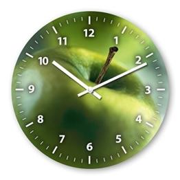 Wanduhr mit Motiv - Apfel - aus Echt-Glas | runde Küchen-Uhr | große Uhr modern - 1