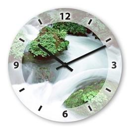 Wanduhr mit Motiv - Fluss - aus Echt-Glas | runde Küchen-Uhr | große Uhr modern - 1