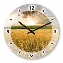 Wanduhr mit Motiv - Getreide - aus Echt-Glas | runde Küchen-Uhr | große Uhr modern - 1