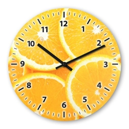 Wanduhr mit Motiv - Orange - aus Echt-Glas | runde Küchen-Uhr | große Uhr modern - 1