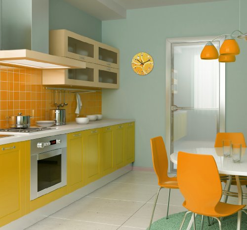 wanduhr mit motiv orange aus echt glas runde k chen. Black Bedroom Furniture Sets. Home Design Ideas