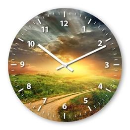 Wanduhr mit Motiv - Weide - aus Echt-Glas | runde Küchen-Uhr | große Uhr modern - 1