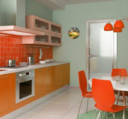 wanduhr mit motiv weide aus echt glas runde k chen uhr gro e uhr modern 3 redidoplanet. Black Bedroom Furniture Sets. Home Design Ideas