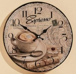 Wanduhr Ø: 34cm aus Glas Küchenuhr Kaffee Küche Espresso - 1
