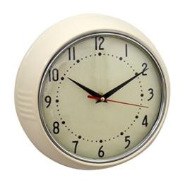 Wanduhr Uhr Küchenuhr Retro Vintage Design Metall Glas Metalluhr creme rund shabby Quarzuhr Landhaus 50er 50s 60er deko antik - 1
