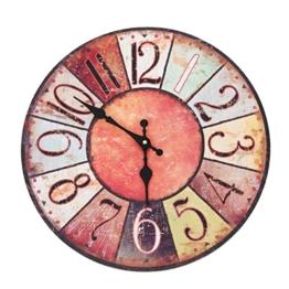 Wanduhr - Vintage Color - Holz Küchenuhr mit großem Ziffernblatt aus MDF, Retro Uhr im angesagtem Shabby Chic Design mit leisem Quarz-Uhrwerk, Ø: 32 cm - 1